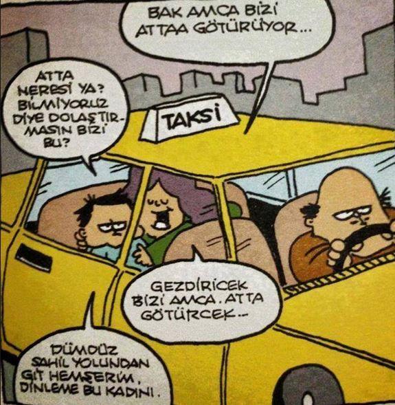 komik taksici karikatürü